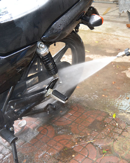 Cleaning the motorcycle